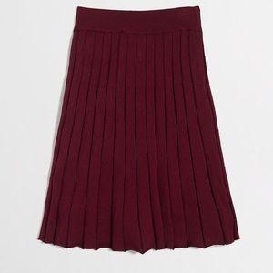 J.Crew Burgundy Merino Pleated Skirt